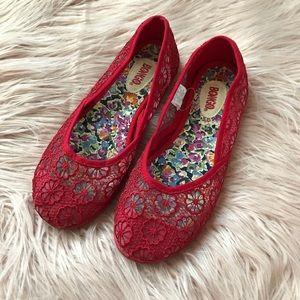 Bongo   Crochet Red Flats